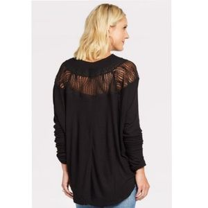 FREE PEOPLE spring valley black lace sweater S